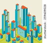 vector isometric city center on ...   Shutterstock .eps vector #259609028
