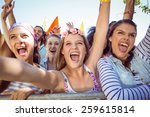 excited young people singing... | Shutterstock . vector #259615814