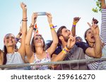 excited music fans up the front ... | Shutterstock . vector #259616270