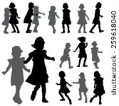 silhouettes of small girls on... | Shutterstock . vector #259618040