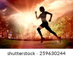 pretty fit blonde jogging... | Shutterstock . vector #259630244