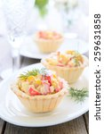mini tarts with crab salad for... | Shutterstock . vector #259631858