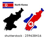north korea map and flag vector ... | Shutterstock .eps vector #259638416