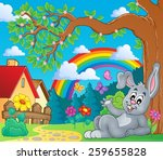 spring theme with bunny and... | Shutterstock .eps vector #259655828