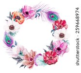 wreath  watercolor  flowers ... | Shutterstock . vector #259668974