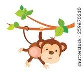playful monkey. cute monkey... | Shutterstock .eps vector #259670210