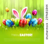 easter greeting card with... | Shutterstock .eps vector #259681844