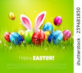 easter greeting card with... | Shutterstock .eps vector #259681850