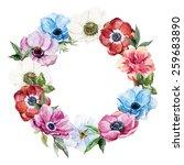 watercolor  wreath  flowers ...   Shutterstock . vector #259683890