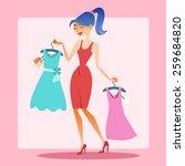 girl shopping dress choice.... | Shutterstock .eps vector #259684820