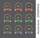 a set of golden badges | Shutterstock .eps vector #259689413