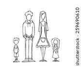 a family sketch in a white... | Shutterstock .eps vector #259690610