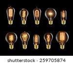 set of vintage glowing light... | Shutterstock . vector #259705874