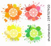 set of citrus fruits... | Shutterstock .eps vector #259707920