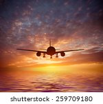 aircraft flies over the ocean... | Shutterstock . vector #259709180