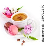 colorful macaroons and coffee | Shutterstock . vector #259712870