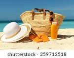 sun protection gear on the sand ... | Shutterstock . vector #259713518