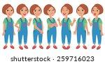 cartoon style girl wearing... | Shutterstock .eps vector #259716023