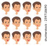 cartoon style caucasian boy... | Shutterstock .eps vector #259718690