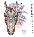 patterned head of the horse on... | Shutterstock .eps vector #259719029