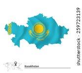 map of kazakhstan with flag  ... | Shutterstock .eps vector #259723139