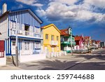 colorful houses in costa nova ... | Shutterstock . vector #259744688