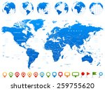 world map  globes  continents ... | Shutterstock .eps vector #259755620