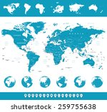 world map  globes  continents ... | Shutterstock .eps vector #259755638
