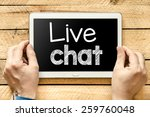 tablet pc with live chat. male... | Shutterstock . vector #259760048
