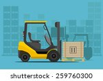 forklift in warehouse. flat... | Shutterstock .eps vector #259760300