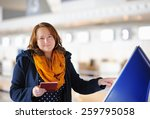 young female passenger at the... | Shutterstock . vector #259795058