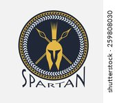 spartan helmet with spears and... | Shutterstock .eps vector #259808030
