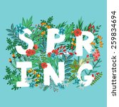 "vector card with word ""spring""... 