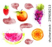 fruits  watercolor illustration | Shutterstock . vector #259838213