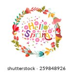 hello spring with flower and... | Shutterstock . vector #259848926