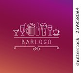 Vector bar logo in linear style - wine and drinks icons and signs  | Shutterstock vector #259858064
