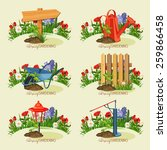 Spring Garden Tools. Card With...