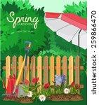 spring garden. poster design.... | Shutterstock .eps vector #259866470