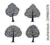 set of tree silhouettes for... | Shutterstock . vector #259881578