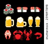 beer and seafood icons set.... | Shutterstock .eps vector #259897898