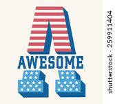 Постер, плакат: Awesome america flag typography
