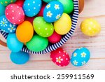 easter eggs on wooden... | Shutterstock . vector #259911569