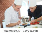 chef with young cook in kitchen ... | Shutterstock . vector #259916198