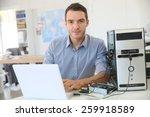 engineer proceeding to data...   Shutterstock . vector #259918589