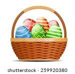 basket with easter eggs...   Shutterstock .eps vector #259920380
