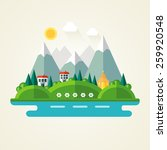 nature landscape flat icon | Shutterstock .eps vector #259920548