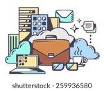 vector linear illustration of... | Shutterstock .eps vector #259936580