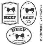 vector beef vintage labels for... | Shutterstock .eps vector #259962938