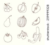 set sketches of fruit  isolated ... | Shutterstock .eps vector #259999328