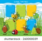 school timetable with funny... | Shutterstock .eps vector #260000039